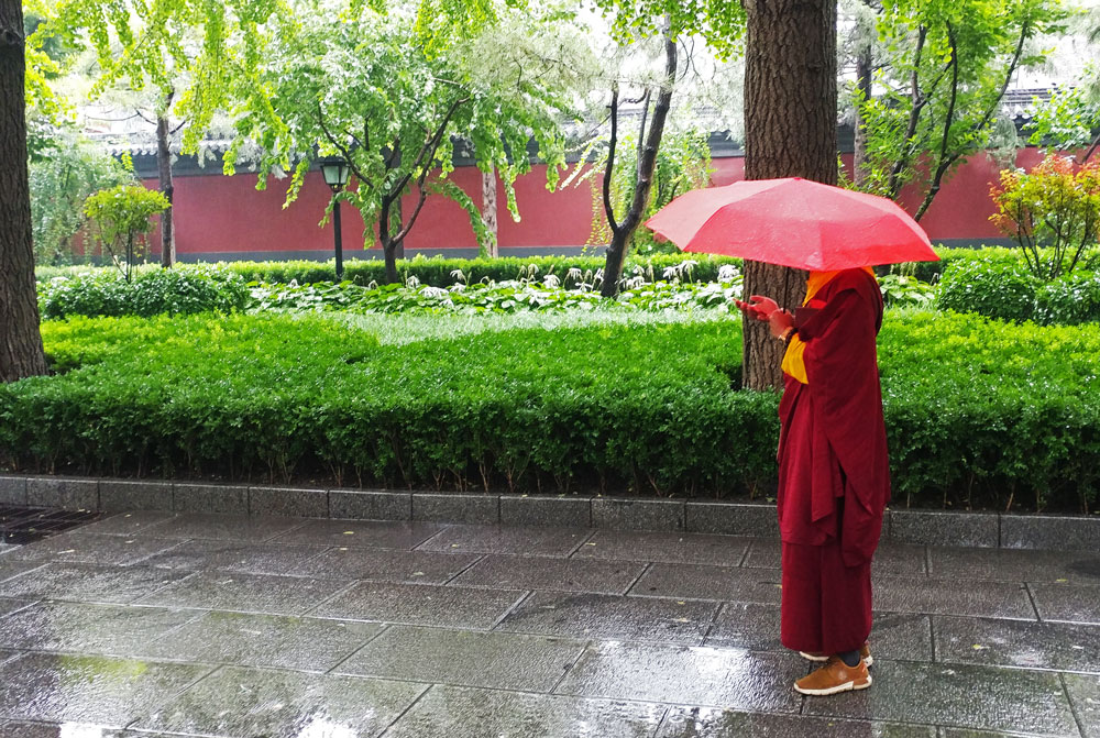 pioggia a pechino - beijing - china - travel - monk - lama temple - yonghe gong